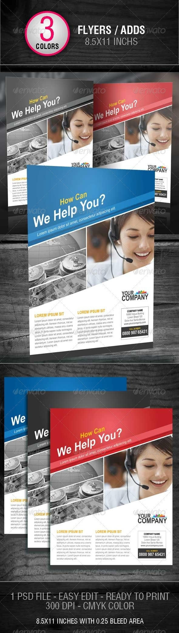 Business Flyer Template With 3 Color Schemes - Flyers Print Templates