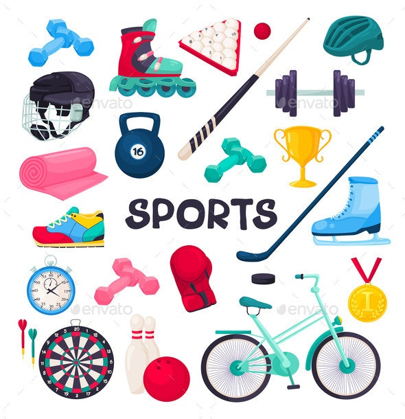 Sport Equipment Collection Vector Illustration - Sports/Activity Conceptual