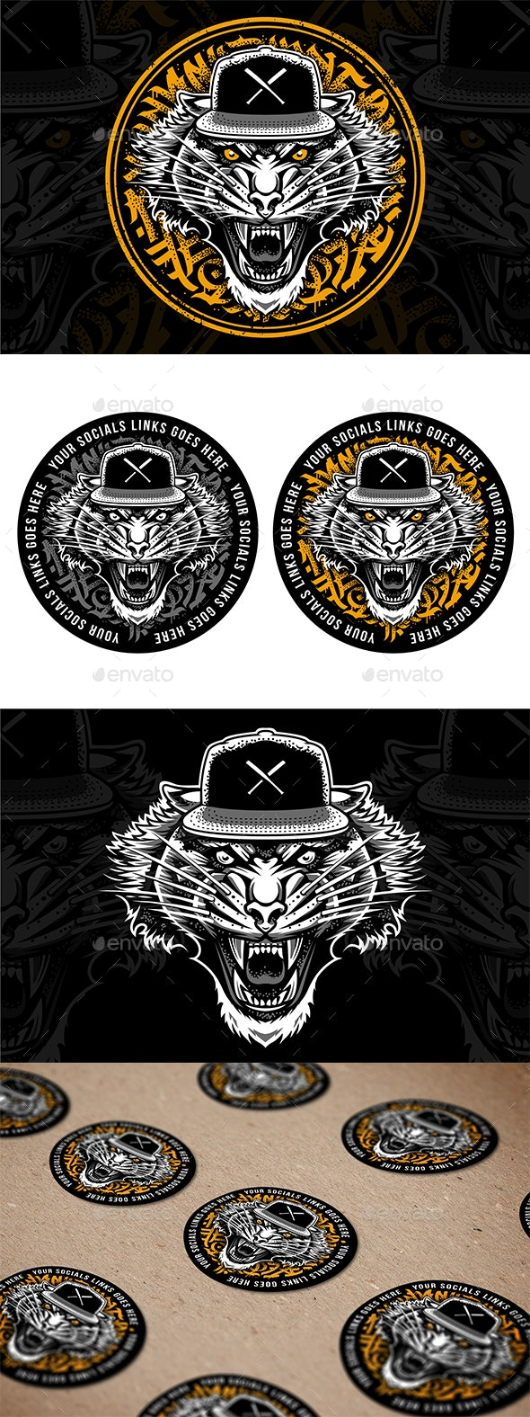 Tiger in Snapback Vector Art - Animals Characters