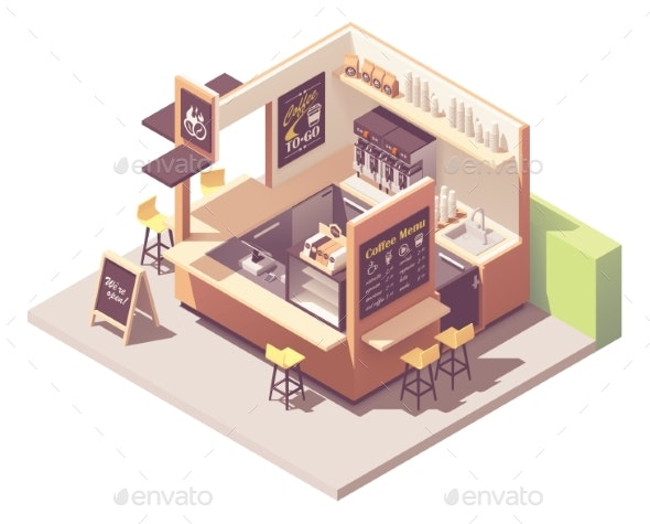 Vector Isometric Coffee Kiosk - Industries Business
