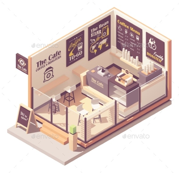 Vector Isometric Small Coffeehouse - Industries Business