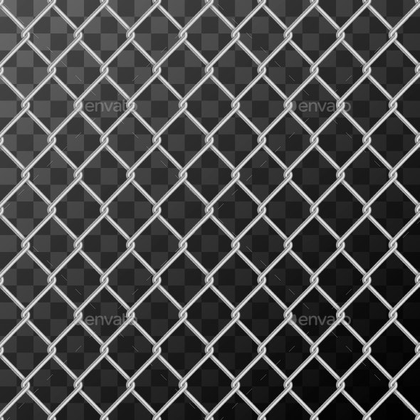Realistic Glossy Metal Chain Link Fence Seamless - Industries Business