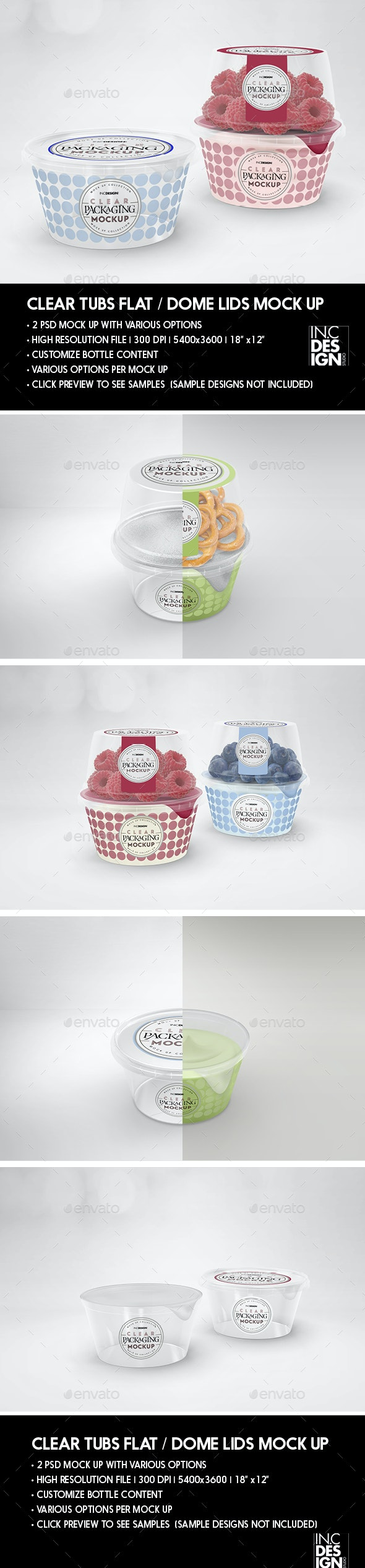 Clear Tubs Flat or Dome Lid Packaging Mockup - Product Mock-Ups Graphics