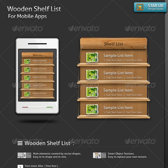 Wooden Shelf List for Mobile Apps