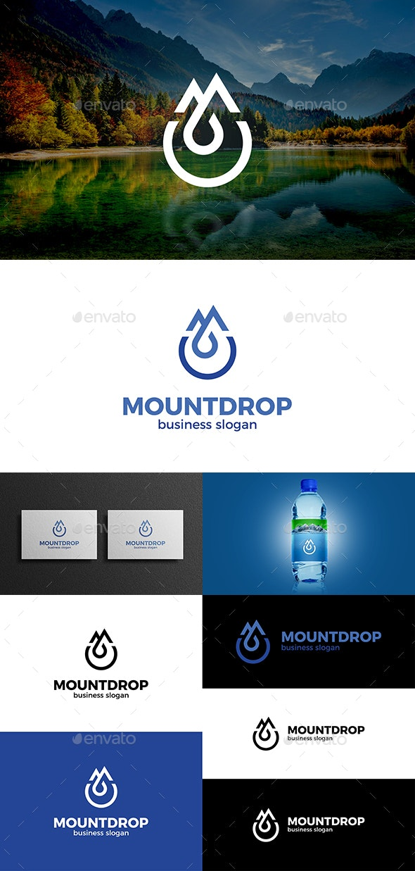 Mountains and Drop and Letter M Logo Concept - Nature Logo Templates