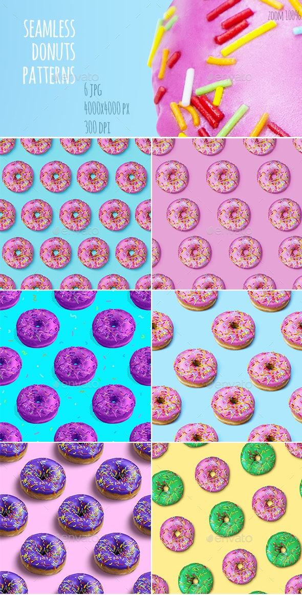 Colorful Flat Lay Seamless Pattern with Donuts - Patterns Backgrounds