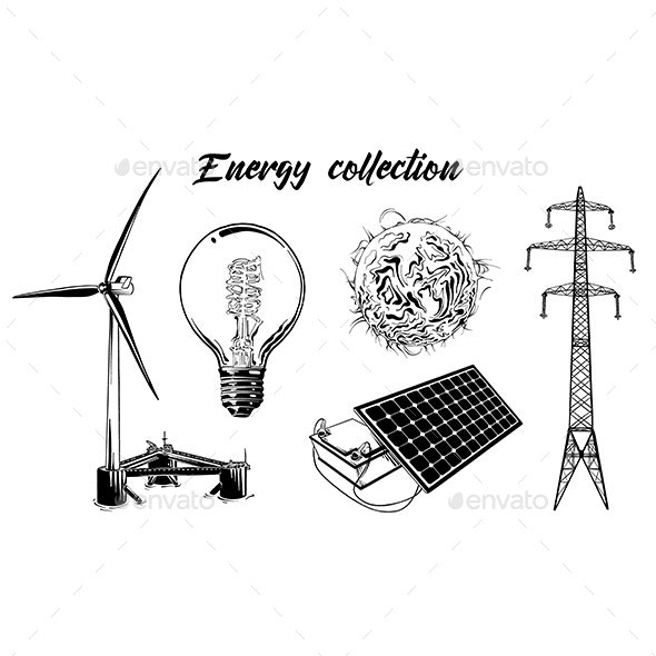 Hand Drawn Engraved Sketch Set Of Energy Equipment - Man-made Objects Objects