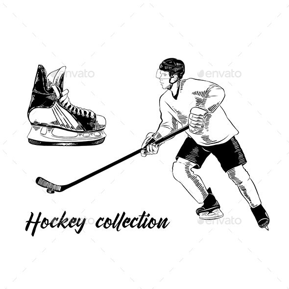 Hand Drawn Set of Sketches of Ice Skate and Hockey Player - Sports/Activity Conceptual