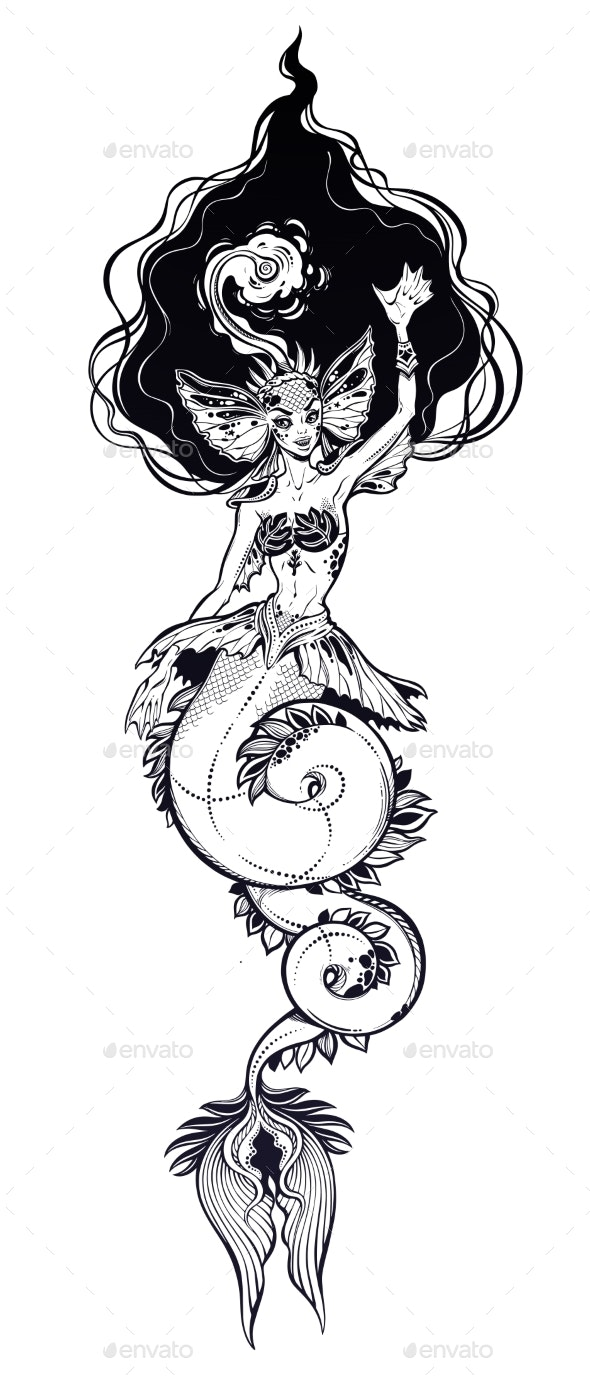 Mermaid Girl with Anglerfish Features - Monsters Characters