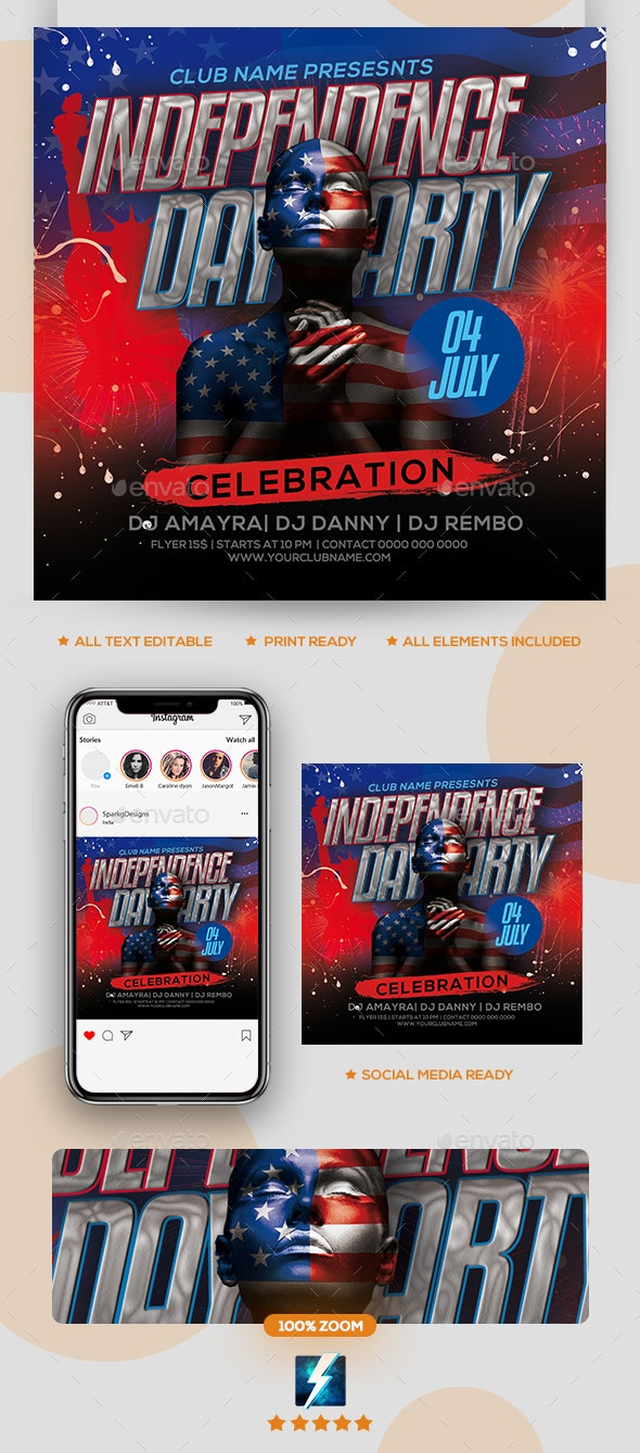 Independence Day Flyer - Clubs & Parties Events