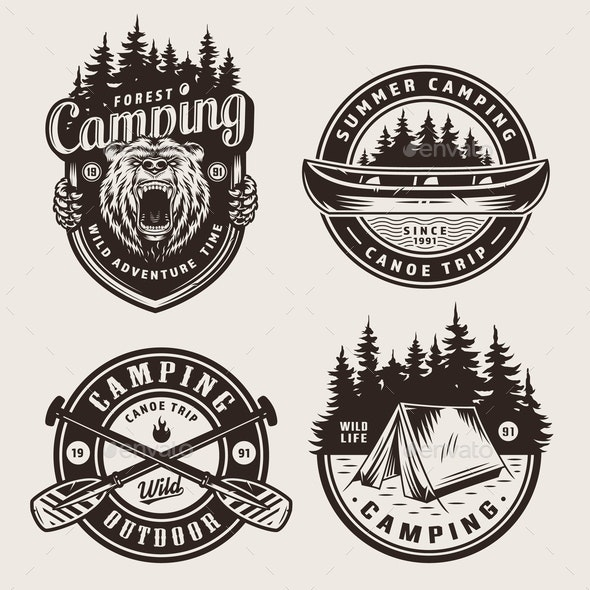 Vintage Monochrome Camping Logotypes - Sports/Activity Conceptual