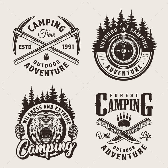 Camping Summer Labels - Miscellaneous Vectors