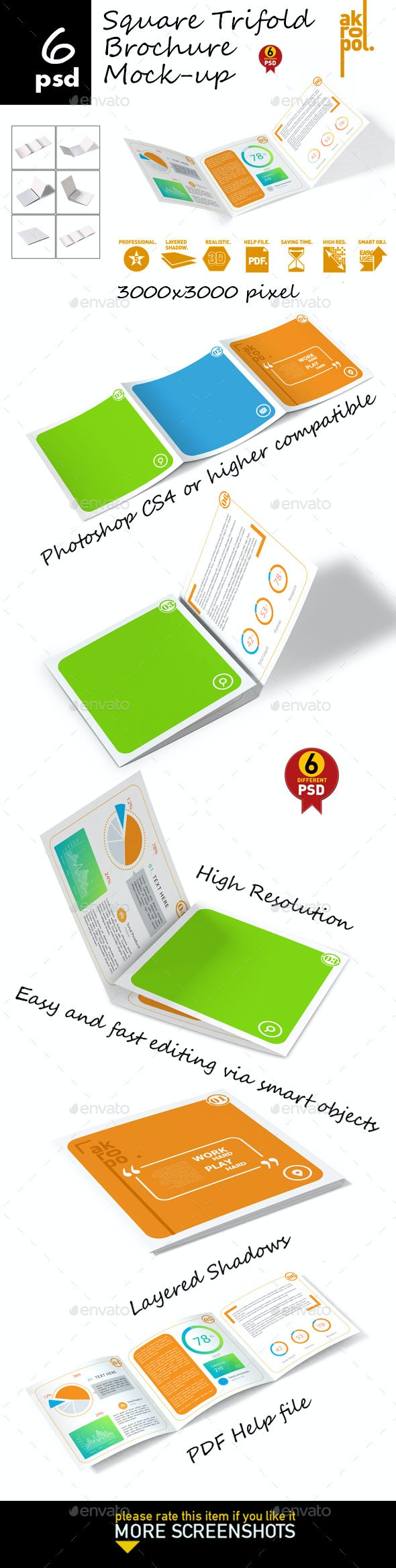Square Trifold Brochure Mock-up - Product Mock-Ups Graphics