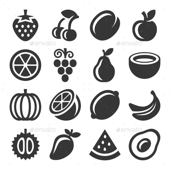 Fruits Icons Set on White Background - Food Objects