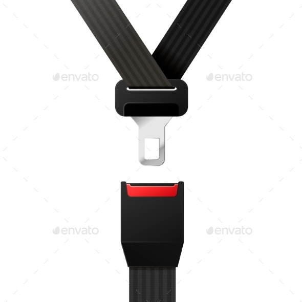 Realistic Black Safety Belt on White - Miscellaneous Vectors
