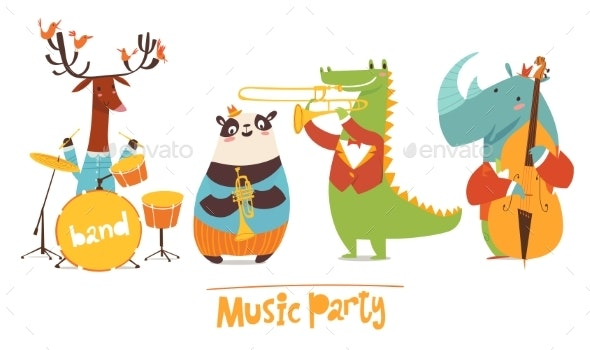 Vector Music Characters with Cartoon Musical - Animals Characters