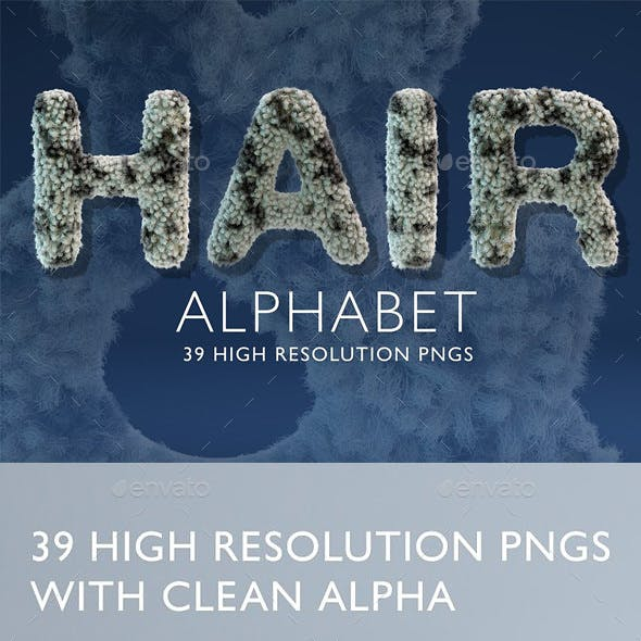 Hairy & Furry Alphabet - 3D Render Set