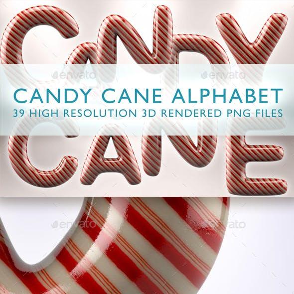 Candy Cane Alphabet 3D Render Set