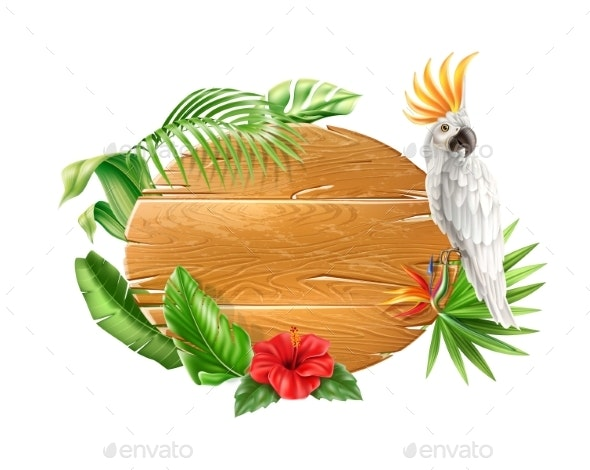 Vector Tropical Flower Leaves Wood Sign Parrot - Animals Characters