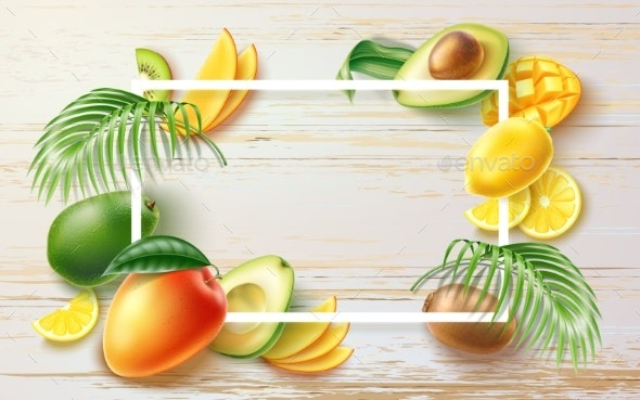 Vector Summer Party Tropical Fruit Banner in Frame - Food Objects