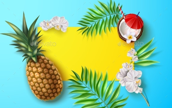 Vector Summer Poster Tropical Leaves Flower Fruits - Flowers & Plants Nature