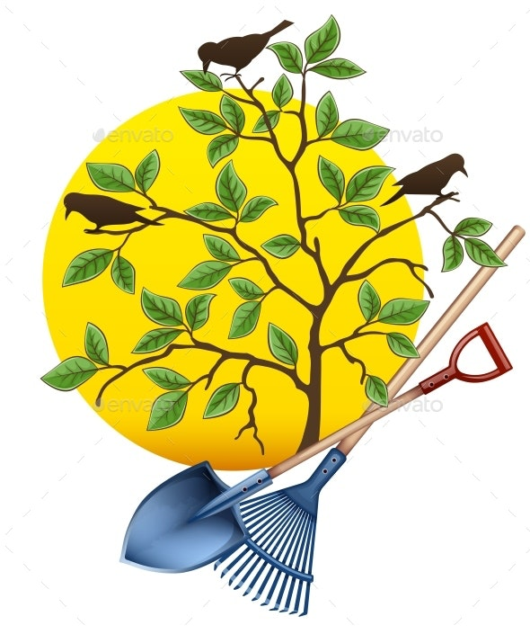 Gardening Equipment Tools with Tree and Birds - Flowers & Plants Nature