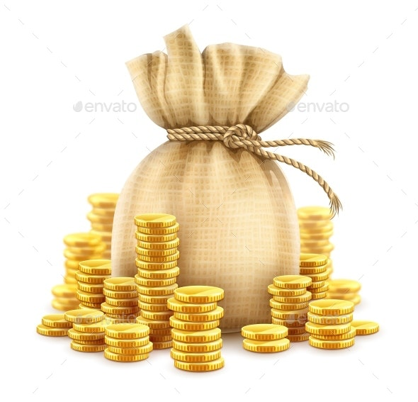 Full Sack of Cash Money Gold Coins - Man-made Objects Objects