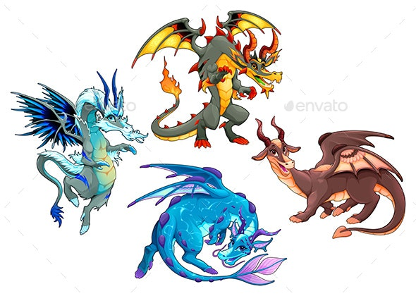 Collection of Four Dragons - Animals Characters