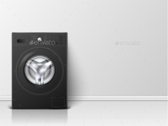 Vector Background with Realistic Black Washing Machine - Man-made Objects Objects