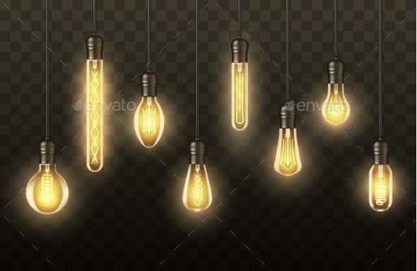 Light Bulbs, Realistic Lamps Hanging on Wires - Objects Vectors