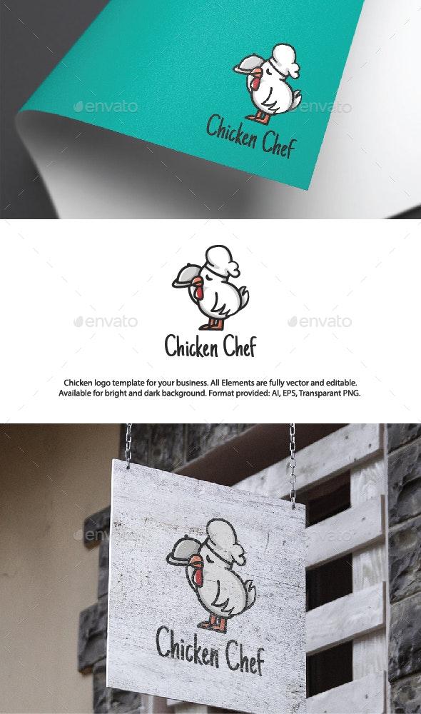 Cute Chicken Chef Logo Template - Animals Logo Templates