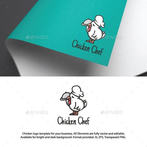 Cute Chicken Chef Logo Template