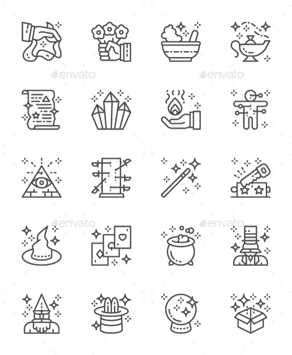 Set Of Magic Show Line Icons. Pack Of 64x64 Pixel Icons - Abstract Icons