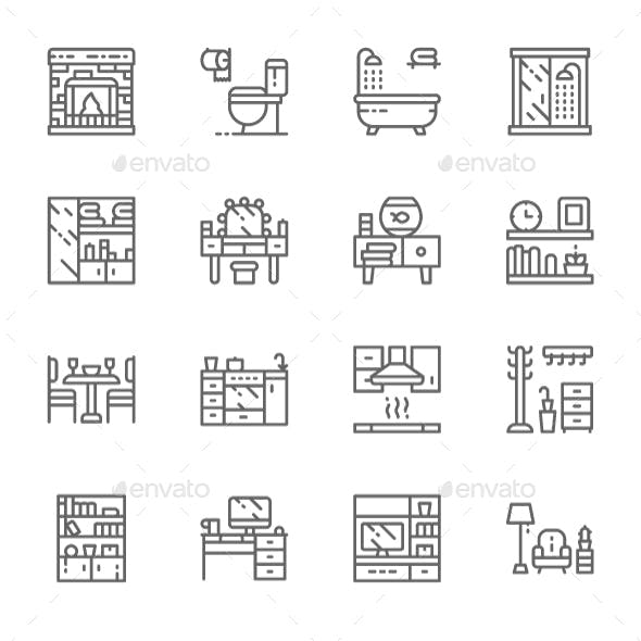 Set Of Furniture Line Icons. Pack Of 64x64 Pixel Icons