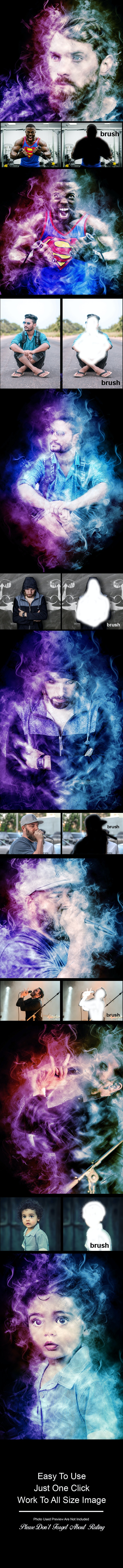 Amazing Colored Smoke Photoshop Action Vol 3 - Photo Effects Actions