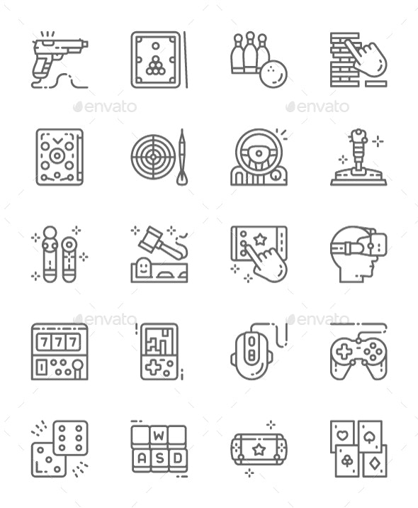 Set Of Game Line Icons. Pack Of 64x64 Pixel Icons - Objects Icons