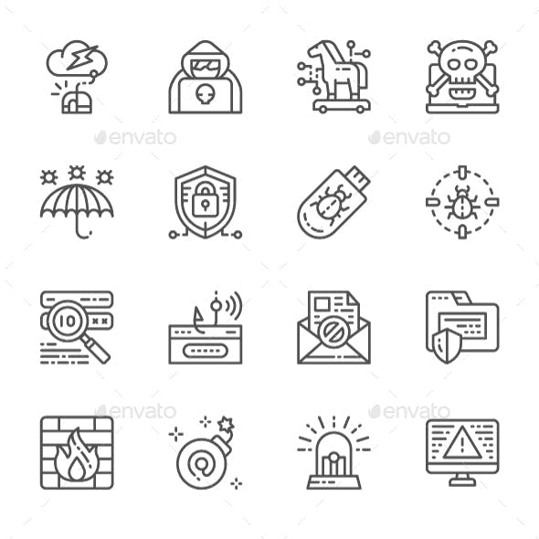 Set Of Cyber Security Line Icons. Pack Of 64x64 Pixel Icons
