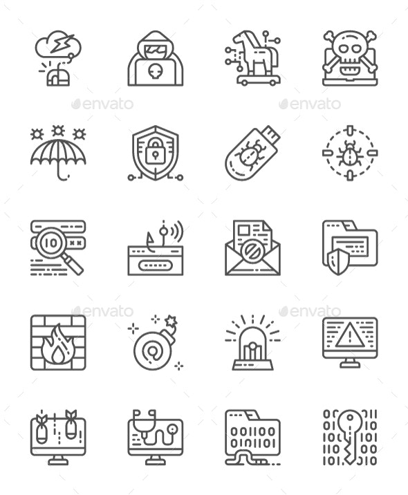 Set Of Cyber Security Line Icons. Pack Of 64x64 Pixel Icons - Technology Icons
