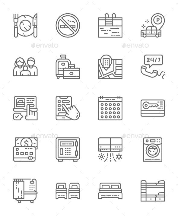 Set Of Hotel Service Line Icons. Pack Of 64x64 Pixel Icons - Objects Icons