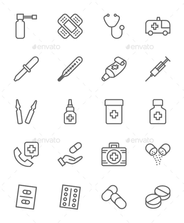 Set Of Pharmacy Line Icons. Pack Of 64x64 Pixel Icons - Objects Icons