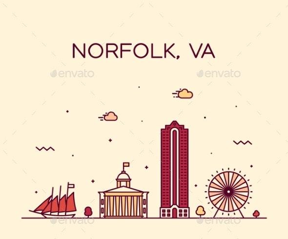 Norfolk Skyline Virginia USA Vector Linear Style - Buildings Objects
