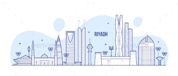 Riyadh Skyline Saudi Arabia City Buildings Vector - Buildings Objects