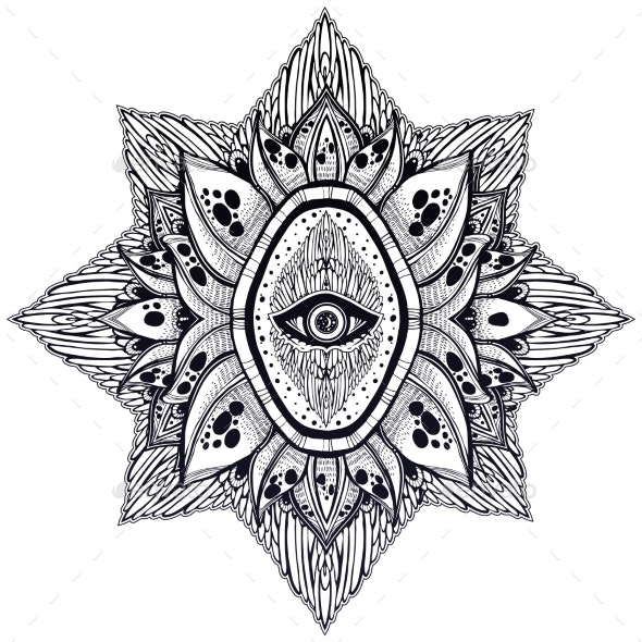 Decorative Eye of Providence Hand Drawn Element - Flowers & Plants Nature