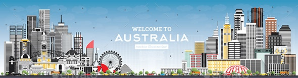 Welcome to Australia Skyline with Gray Buildings and Blue Sky - Buildings Objects