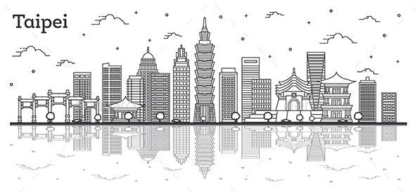 Outline Taipei Taiwan City Skyline with Modern Buildings and Reflections Isolated on White - Buildings Objects