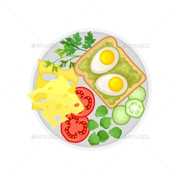 Cheese Vegetables and Egg Sandwich on a Plate - Food Objects