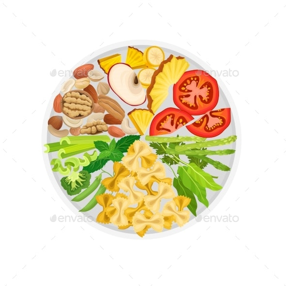 Vegetables, Fruits, Nuts and Macaroni Are Laid Out - Food Objects