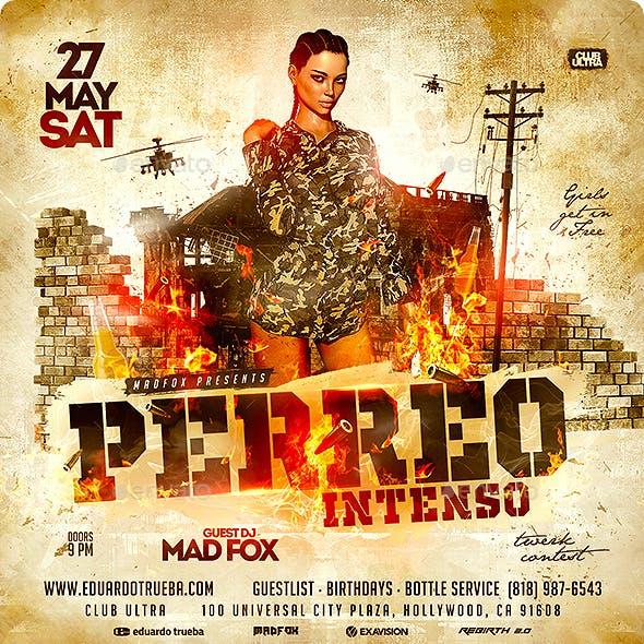 Reggaeton Perreo Intenso Party Flyer