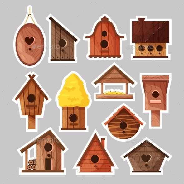 Set of Birdbox Stickers - Man-made Objects Objects