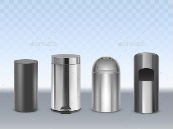 Metal Trash Cans Realistic Vector Set - Man-made Objects Objects